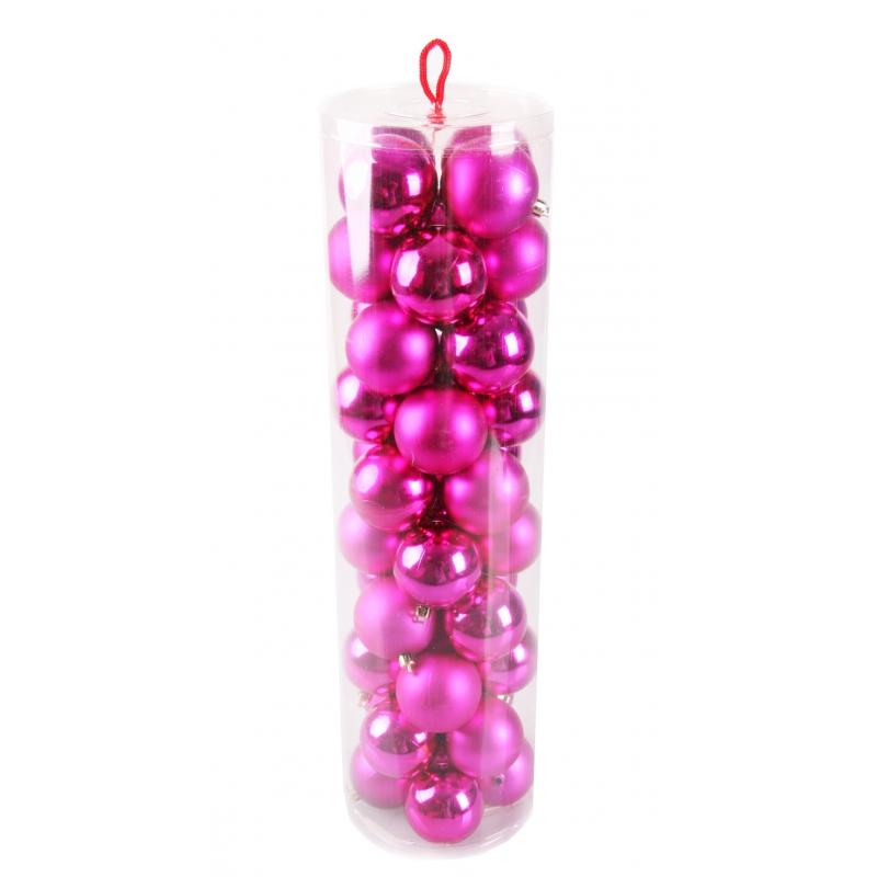 40 fuchsia kerstballen van plastic
