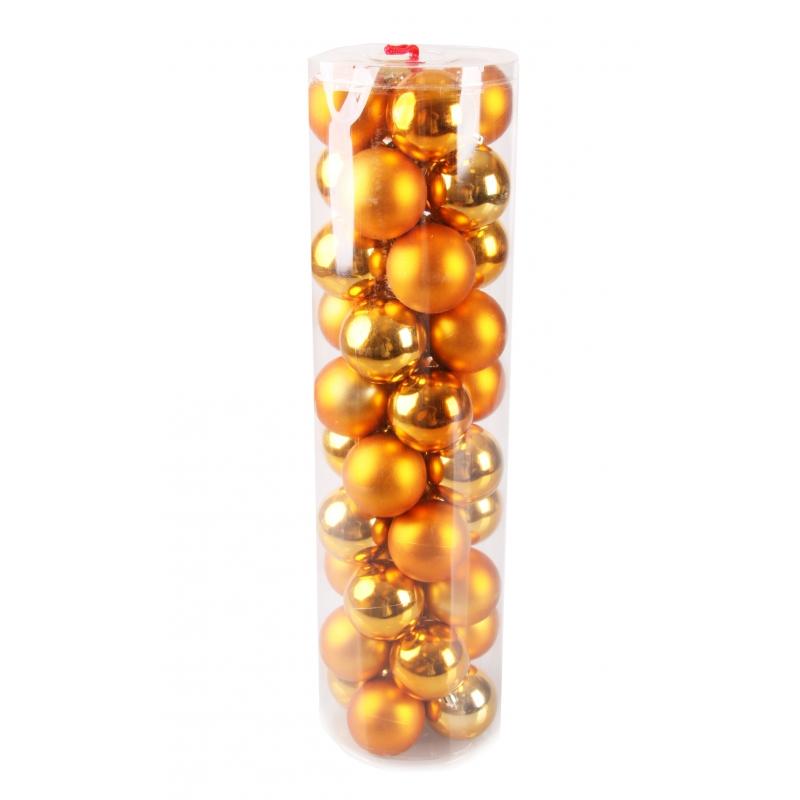 40 oranje kerstballen van plastic