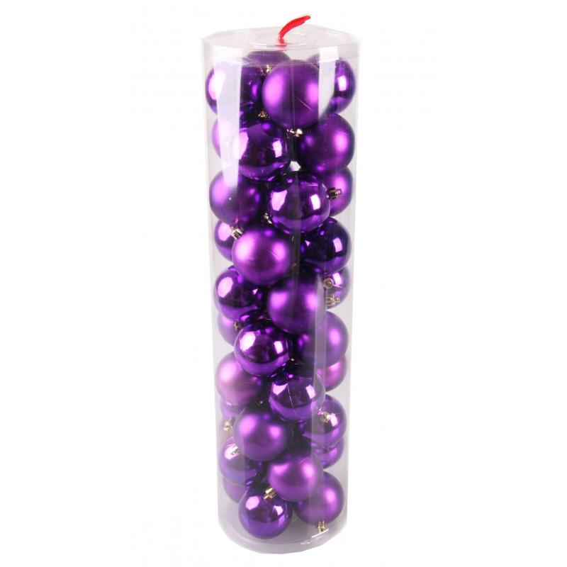 40 paarse kerstballen van plastic