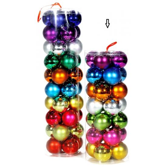 Gekleurde kerstballen 6 cm 28 stuks