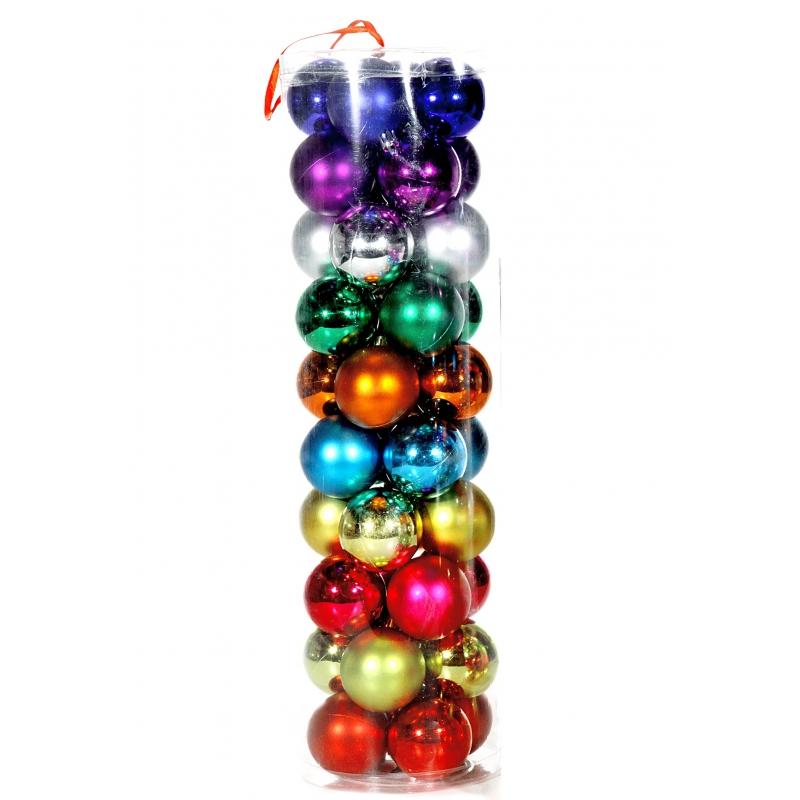Gekleurde kerstballen 6 cm 40 stuks