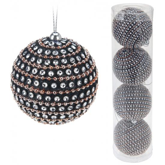 Glitter kerstballen 4 stuks