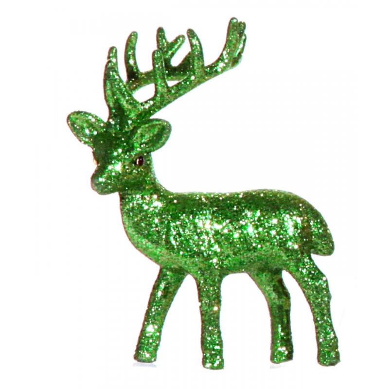 Groen deco rendier met glitters 10 cm