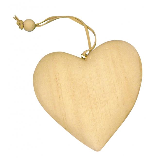 Houten hart hangdecoratie 5 cm