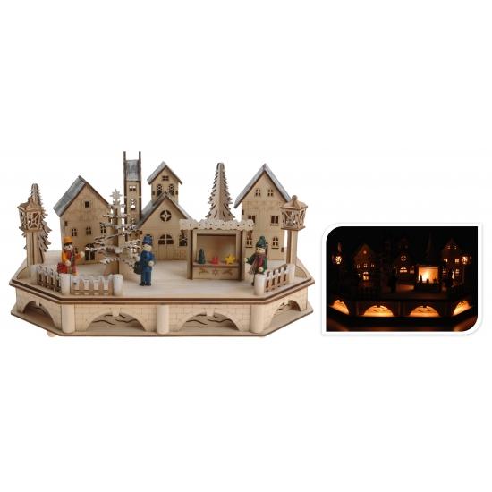 Houten kerstdorp met verlichting 19 cm