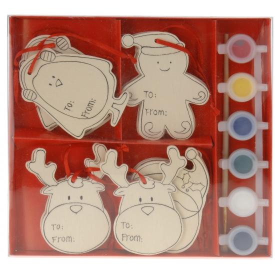 Houten kersthangers schilder set Kerstman