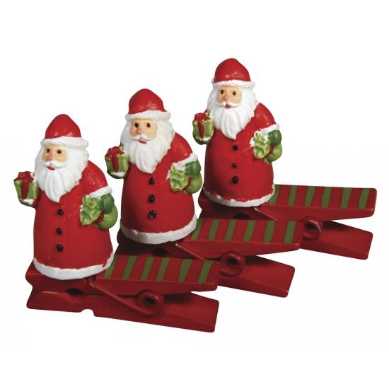Houten kerstman knijpers 4,5 cm
