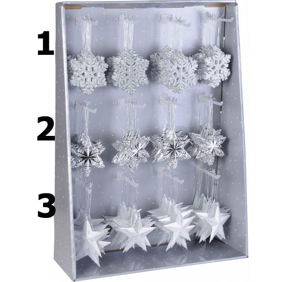 Kersthanger ijsbloem zilver 10 cm