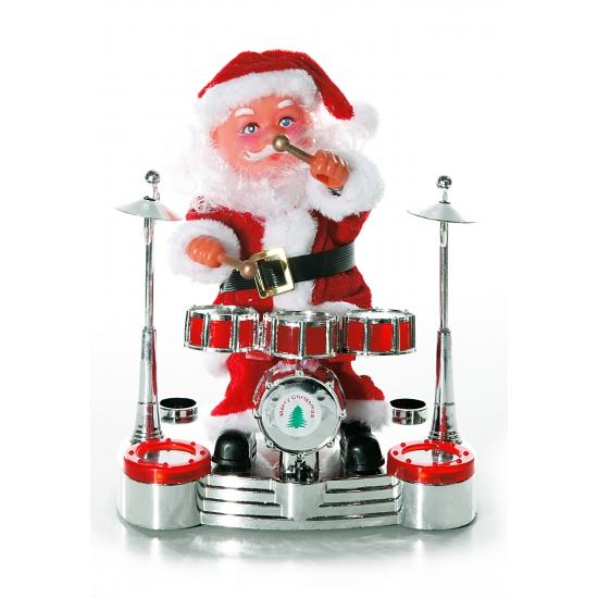 Kerstman op drumstel deco 19 cm