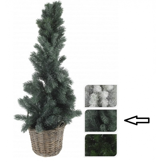 Kleine kerstboom groen in mand 80 cm
