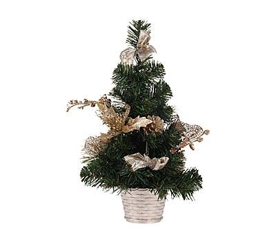 Mini kerstboom met gouden details 40 cm