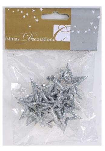 Open zilveren sterren hangers 12 stuks
