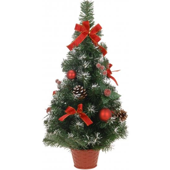Rode kerstboom met deco 60 cm