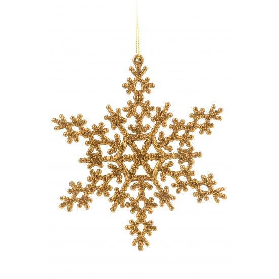 Sneeuwvlok decoratie goud 14,5 cm type 2