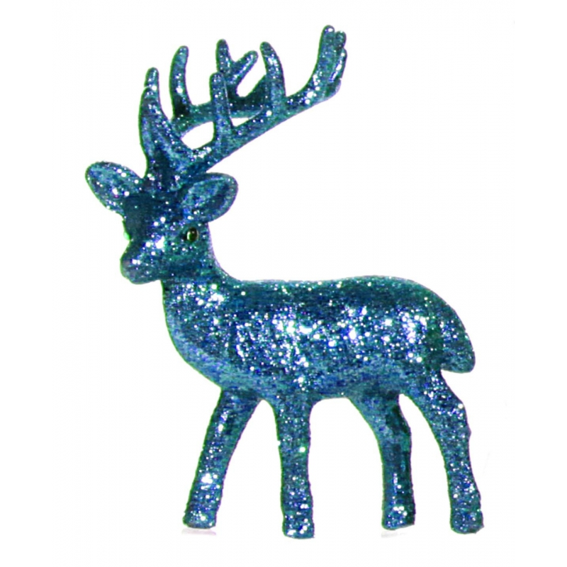 Turquoise deco rendier met glitters 10 cm