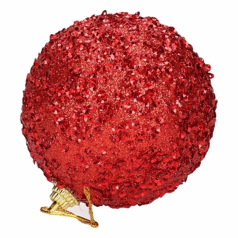 4 rode kerstballen 7 cm