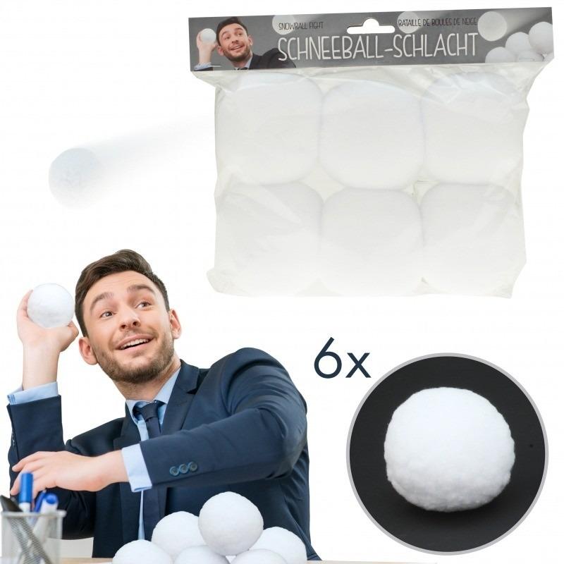 6x Kunstsneeuw sneeuwballen 7,5 cm