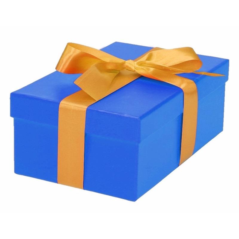 Blauw cadeaudoosje 19 cm met gouden strik