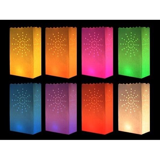 Candle bags set vuurwerk gekleurd 10 stuks