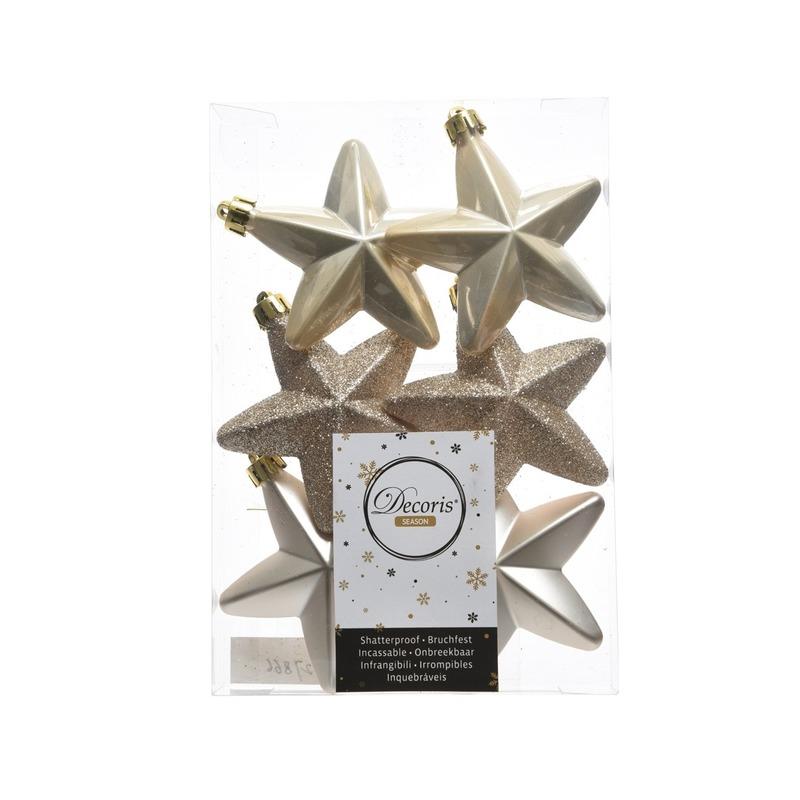 Champagne kerstversiering sterren kerstballen 7,5 cm