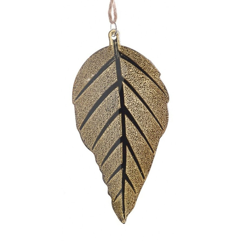 Decoratie hanger gouden blad 10 cm