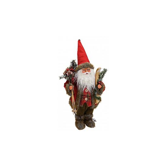 Decoratie kerstman met ski 47 cm