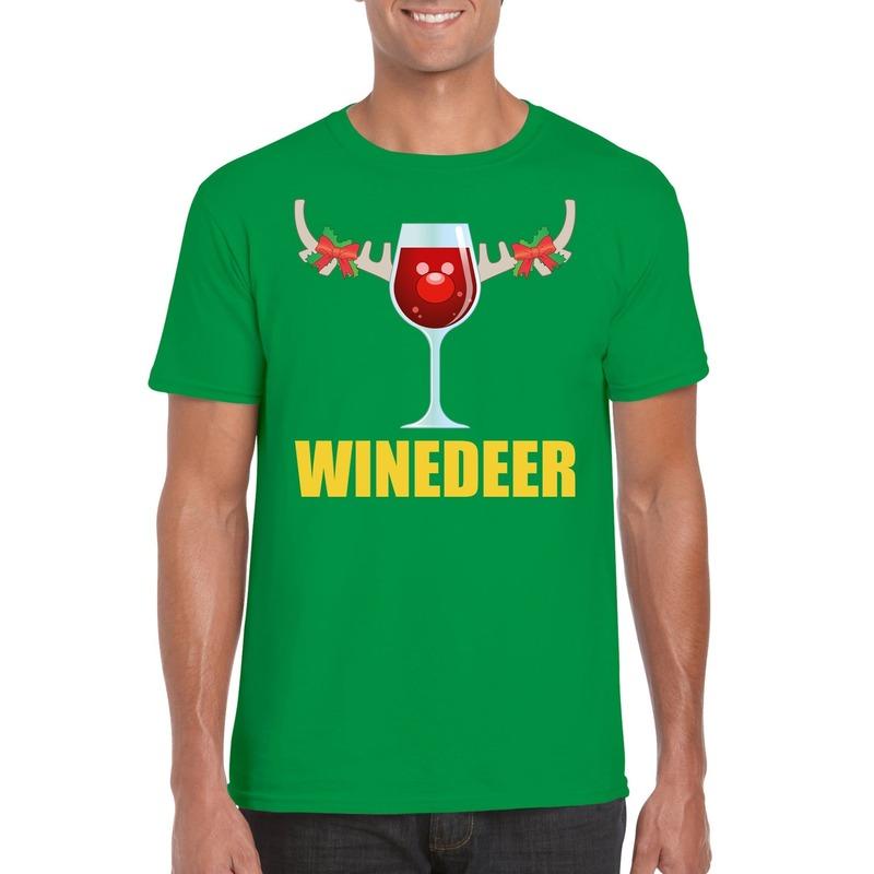 Foute Kerst t-shirt Winedeer groen voor heren