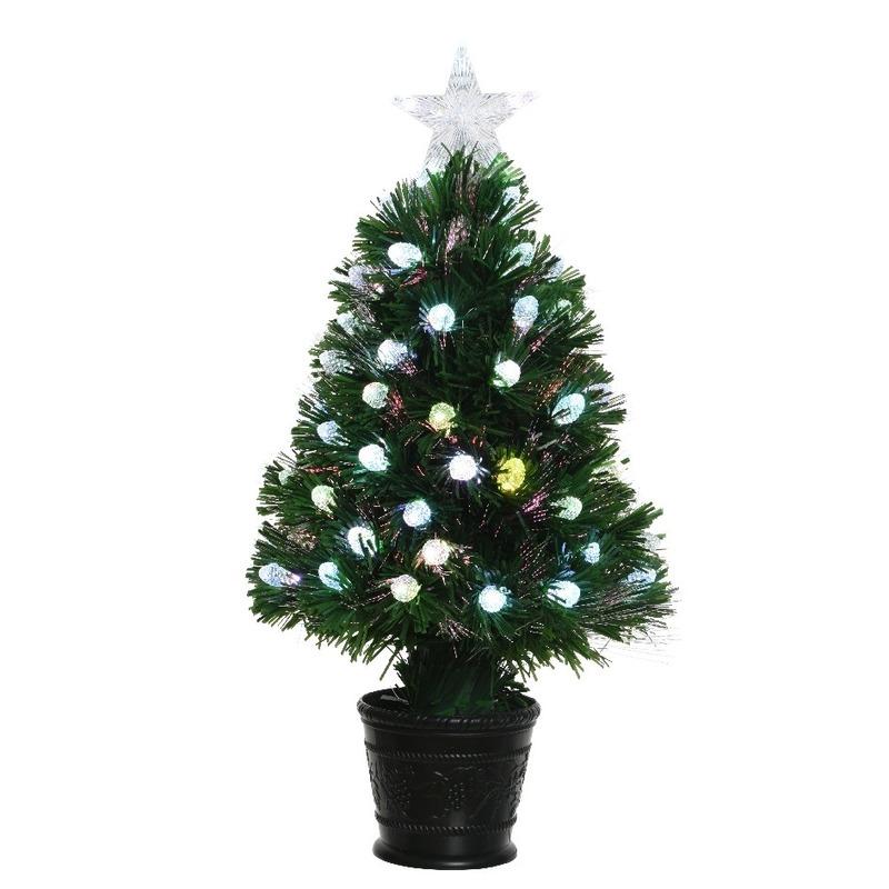 Groene glasvezel kunstkerstboom 90 cm met LED lampjes voor kerst ...