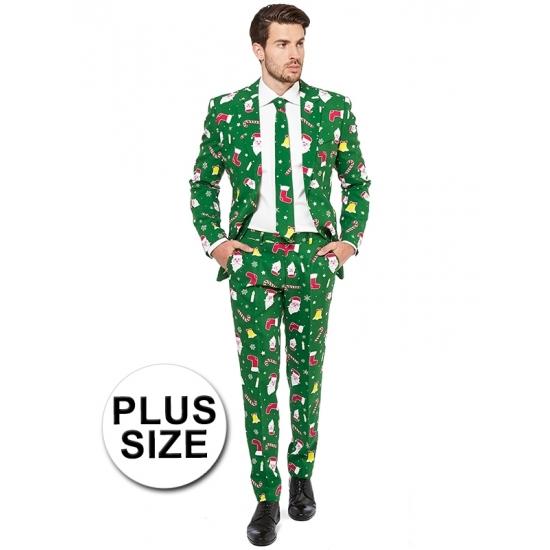 Grote maat heren kostuum groen met kerst print