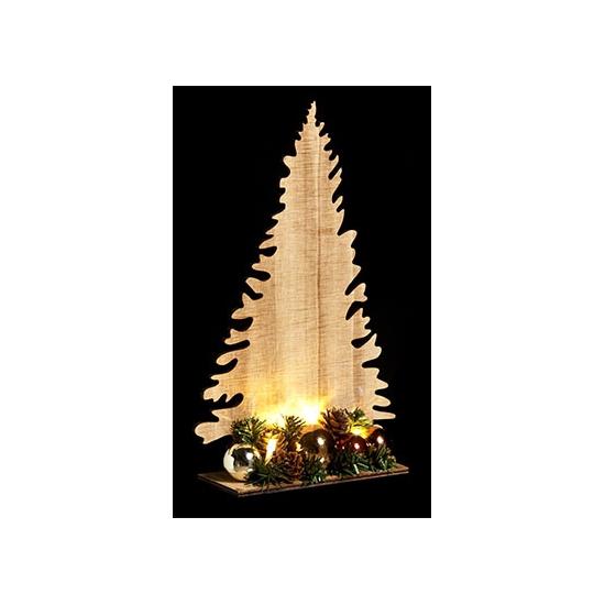 Houten kerstboom naturel met licht 30cm