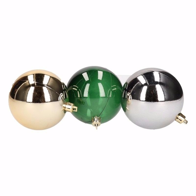 Kerst goud-groene kerstballen mix Forest Christmas 6 stuks