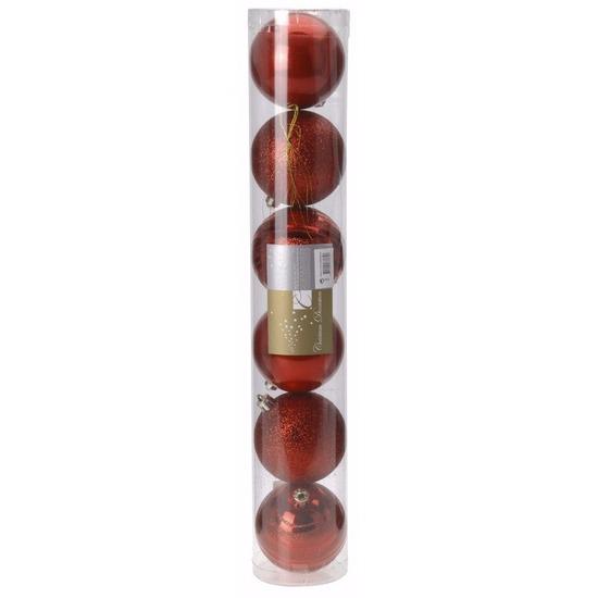 Kerst rode kerstballen mix Classic Red 6 stuks