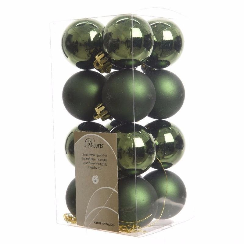 Kerstboom decoratie ballen dennengroen 16 delig