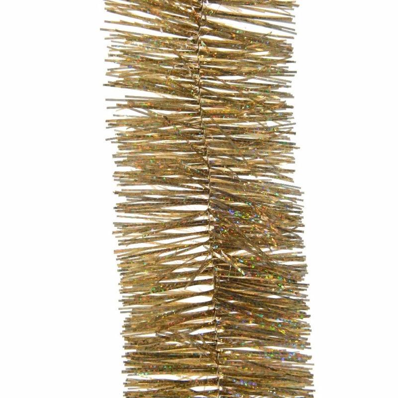Kerstboom glitter folie slinger goud 270 cm