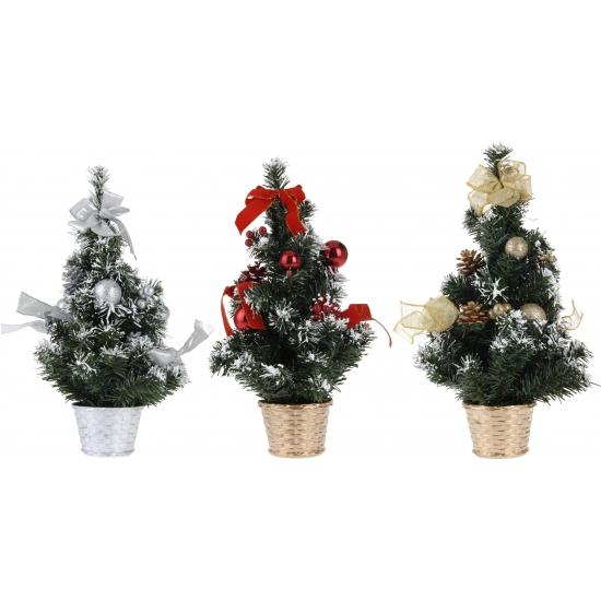 Kerstboom met zilveren decoratie/versiering 40 cm