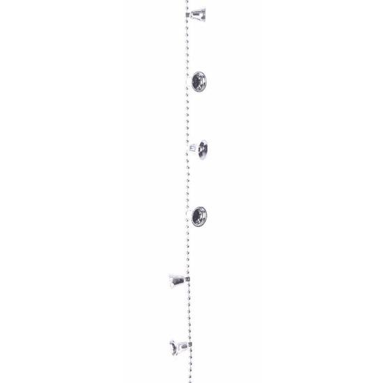 Kerstversiering kralenslinger zilver met bellen 270 cm