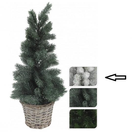 Kleine kerstboom wit in mand 60 cm