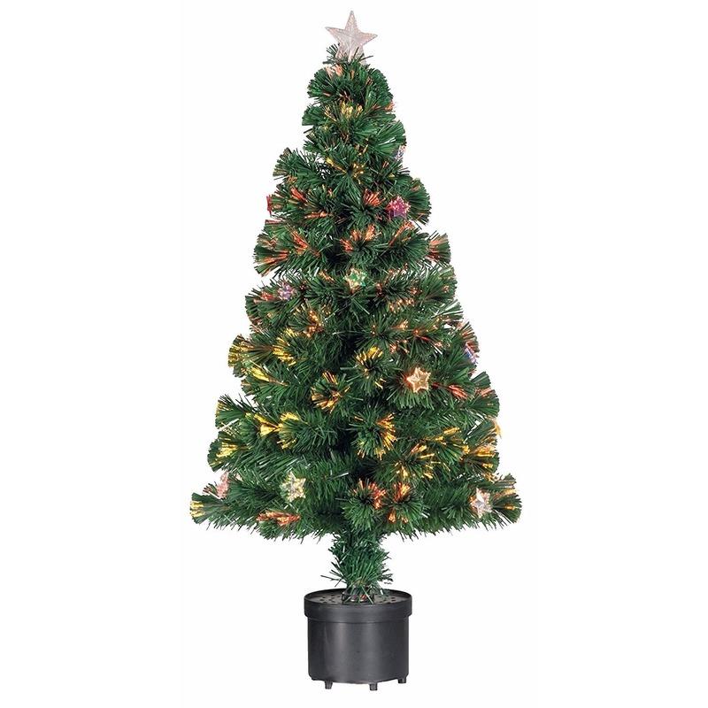Kleine kunst kerstboom met verlichting en versiering 90 cm - Zie ...