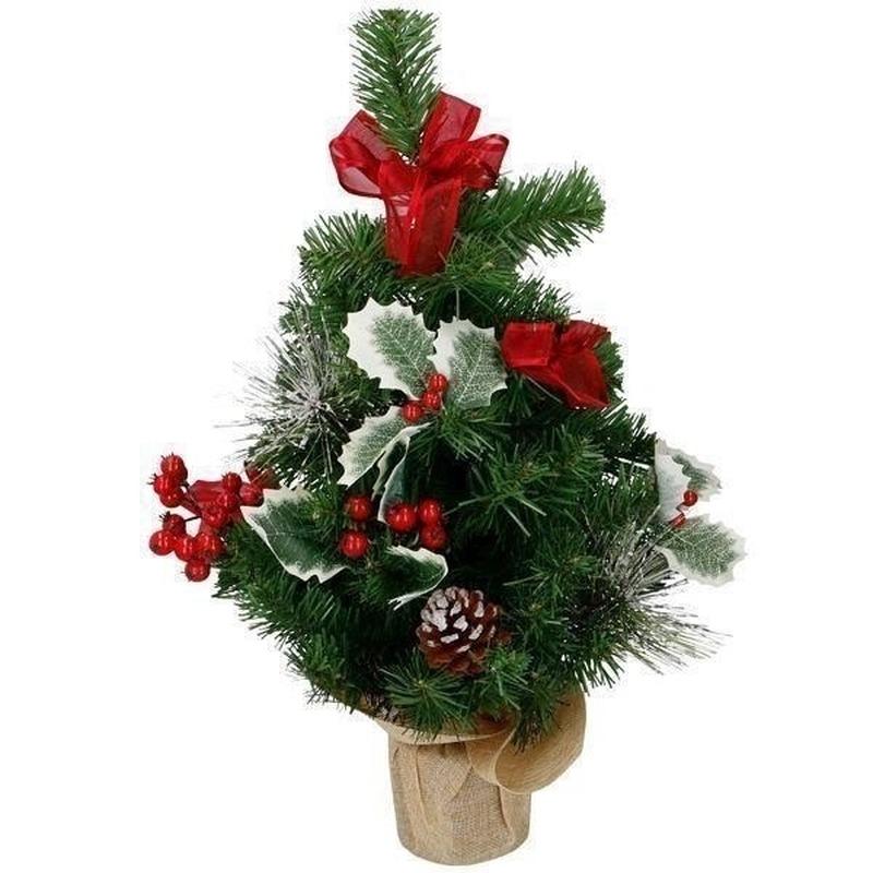 Kunst kerstboom met rode kerstversiering 50 cm