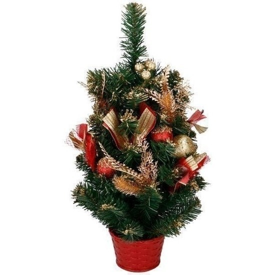 Kunst kerstboom met rood - goud versiering kerst decoratie 50 cm