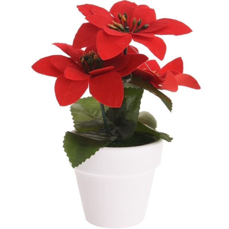 Kunstplant rode Kerstster in pot 16 cm