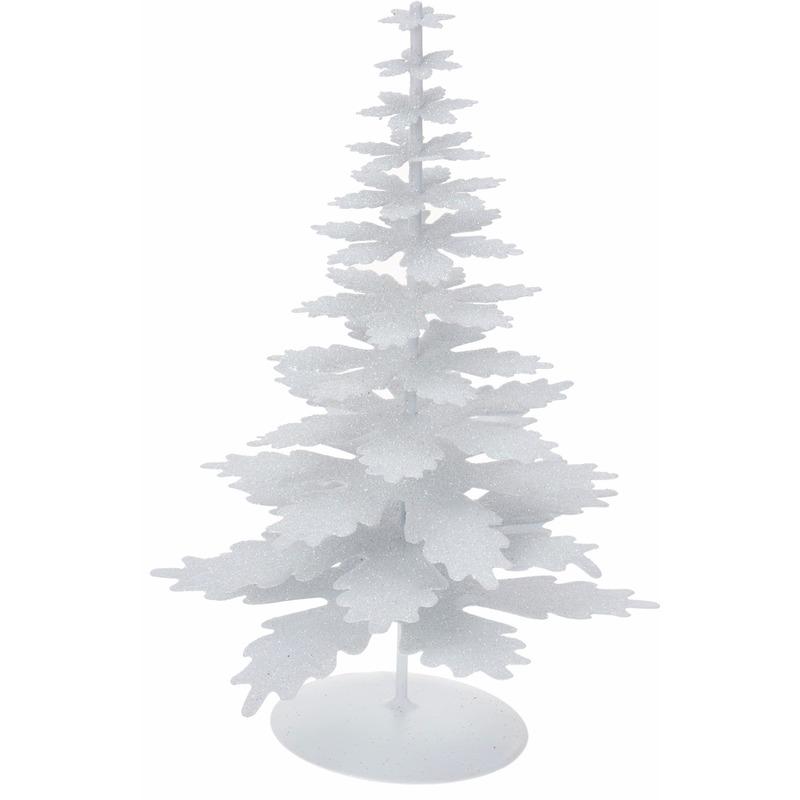 Metalen kerstboom glitter wit 22 cm