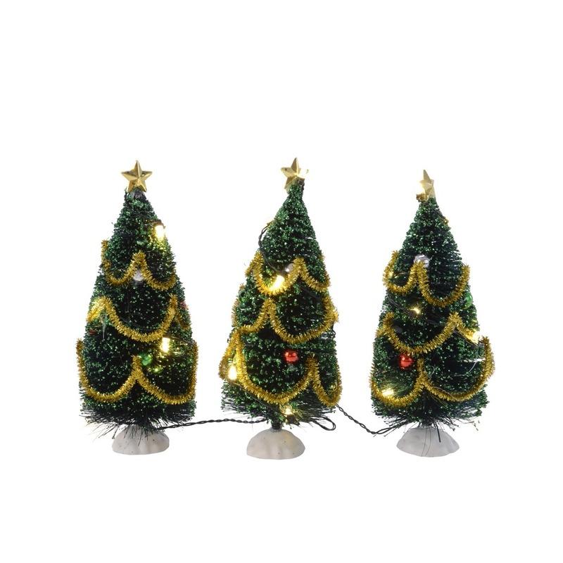 Mini kerstbomen met LED verlichting en versiering 15 cm