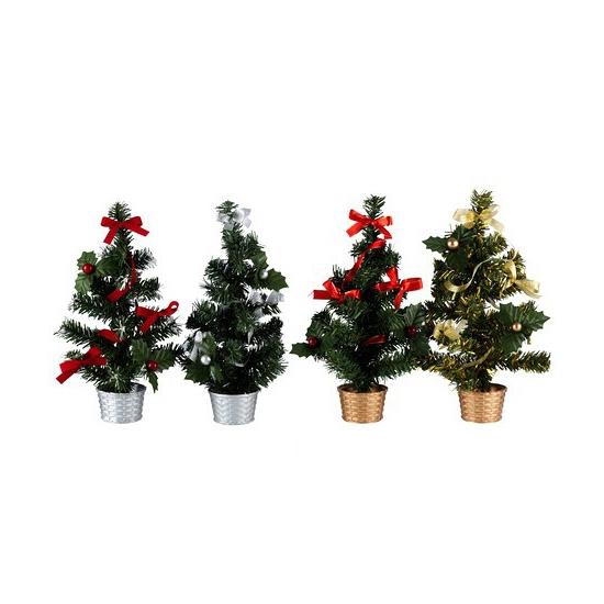 Mini kerstboom met decoratie rood/zilver 30 cm
