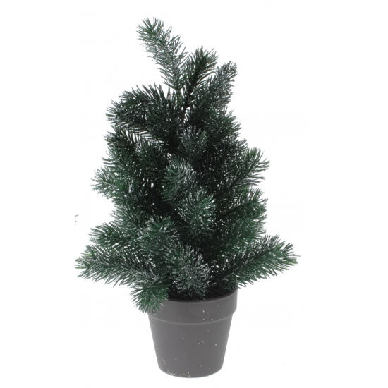 Mini kerstboom met zilveren glitters 40 cm