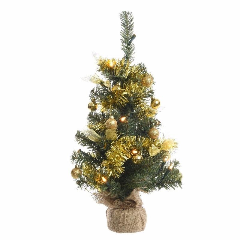 Mini Kerstboompje groen/goud met verlichting van 60 cm