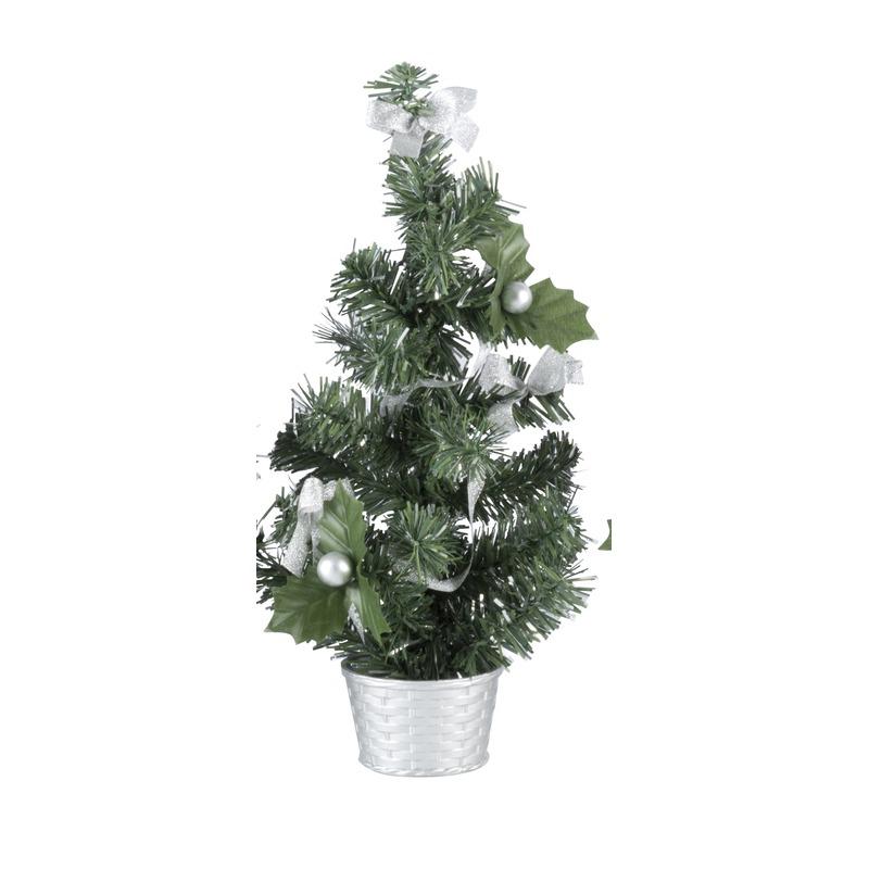 Mini kerstboompje met zilveren versiering 20 cm