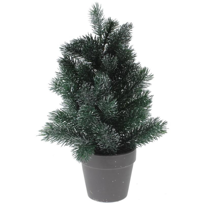 Mini kunst kerstboom 29 cm groen/zilver
