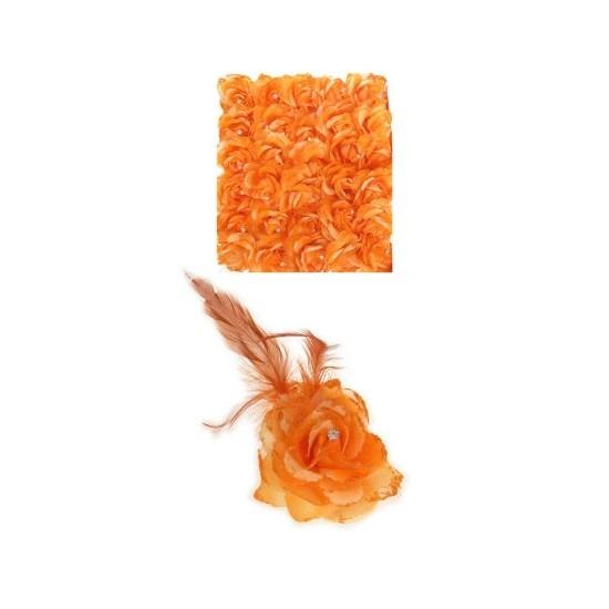Oranje deco bloem met speld/elastiek