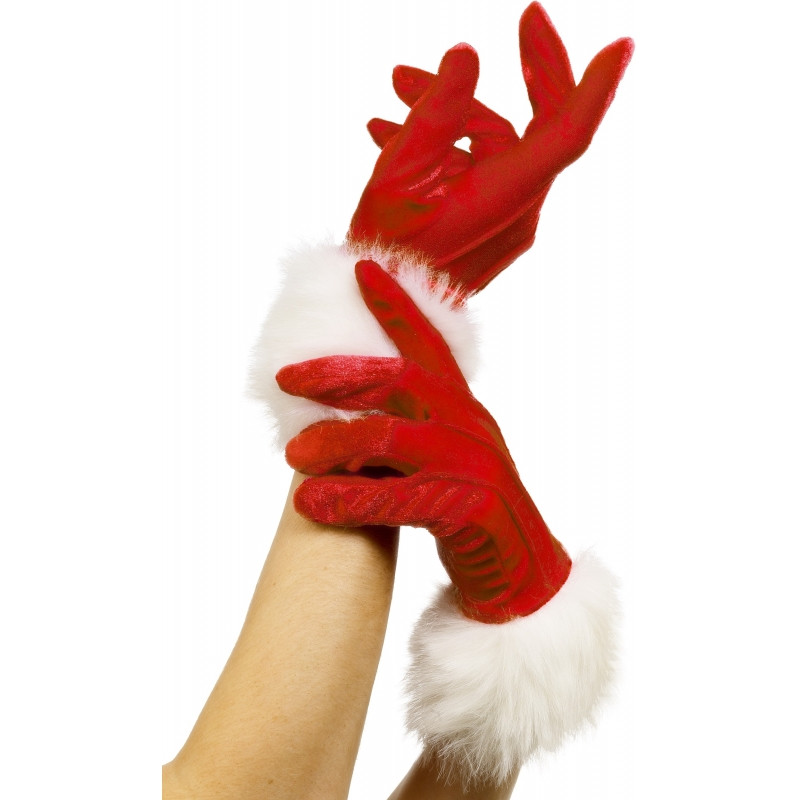 Rode bont handschoenen